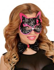 Schwarz-rosa Katzen-Set für Erwachsene