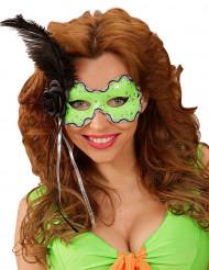 Grüne Augenmaske mit schwarzer Feder für Erwachsene