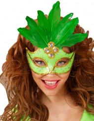 Grüne Augenmaske mit Federn für Erwachsene