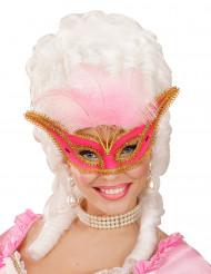 Barocke Augenmaske mit rosa Federn für Erwachsene