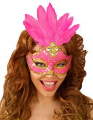 Rosa Augenmaske mit Federn für Erwachsene