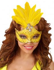 Gelbe Augenmaske mit Federn für Erwachsene