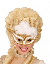 Barocke Augenmaske mit weißen Federn für Erwachsene