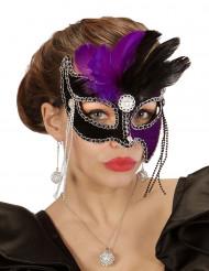 Violett schwarze Augenmaske mit Federn für Damen