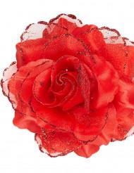 Rote Stoffblüte für die Haare