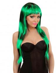 Langhaar Perücke schwarz-grün für Damen