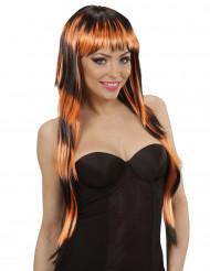 Langhaar Perücke schwarz-orange für Damen