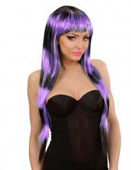 Langhaar Perücke schwarz-violett für Damen