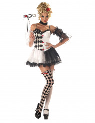 Sexy Harlekin Damenkostüm schwarz-weiss-rot