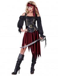 Weinrotes Piraten-Kostüm für Damen