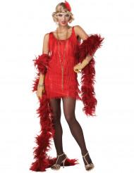 20er Jahre-Charleston-Kostüm für Damen rot-goldfarben