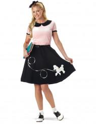 50er-Jahre-Kostüm für Damen schwarz-rosa mit Pudeldruck