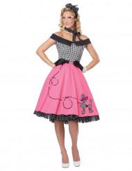 50er Jahre Kostüm in rosa und kariert für Damen
