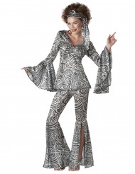 Disco-Kostüm 70er-Jahre für Damen silber-schwarz