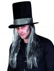Halloween-Hut in gotischer Form mit Haaren für Erwachsene