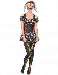 Buntes Totenkopf-Kostüm zum Tag der Toten für Damen
