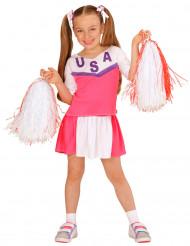 Sportliches Cheerleader Kostüm für Mädchen pink-weiss