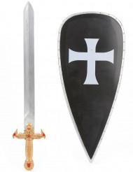 Kreuzritter-Set mit Schwert und Schutzschild für Kinder