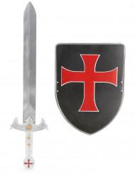 Kinder-Kreuzritter-Set mit Schwert & Schild schwarz-rot-silberfarben