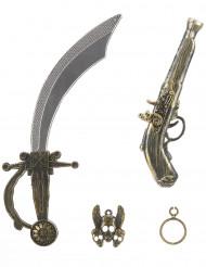 Piratenset für Kinder - Schwert, Pistole, Anhänger und Ohrring