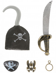 Piratenset für Kinder - Schwert, Haken, Anhänger, Augenklappe und Ohrring