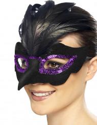 Rabenschnabel Augenmaske in schwarz und violett für Damen