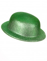 Grüner Glitzer-Hut Melone für Erwachsene an St. Patrick's Day