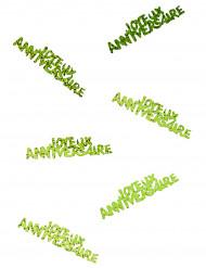 Streudekoration Joyeux anniversaire grün