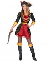 Barockes Piratenkostüm für Damen aus Satin rot-schwarz-gold