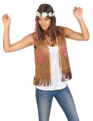 Hippie Weste für Damen braun 55 cm