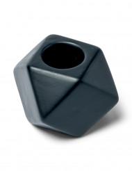 Kerzenständer, achteckig, schwarz, 5 cm