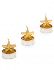 3 goldene Teelichter