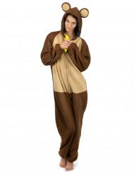 Affen-Kostüm für Damen Overall braun-beige