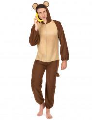 Affen-Kostüm für Herren Overall braun-beige