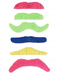 Sechs fluoreszierende Klebe Schnurrbärte