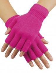 Rosa Neon-Handschuhe fingerlos für Erwachsene