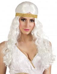 Lange, weiße Perücke mit Stirnband für Frauen