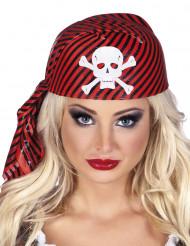 Schwarz und Rot gestreifte Piratenkappe für Erwachsene