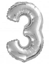 Metallischer Luftballon Ziffer 3