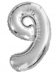 Silberner Ballon Ziffer 9