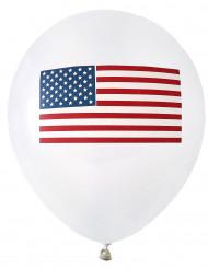 8 USA Luftballons mit Flagge weiß
