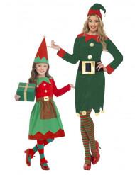 Weihnachtselfen Kostüm für Mutter und Tochter