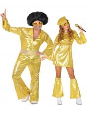 Disco Paarkostüm in gold für Erwachsene