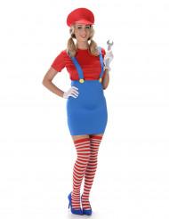Rotes Klempner Kostüm für Damen