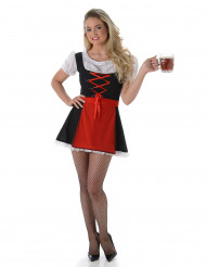 Bayerisches Dirndl Kostüm sexy für Damen rot-schwarz