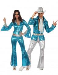 Disco Paarkostüm in blau für Erwachsene