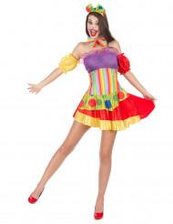 Sexy Clowns-Kostüm für Damen bunt