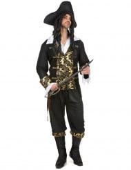 Seeräuber Kostüm für Herren schwarz-gold Brokat