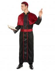 Bischof Kostüm für Herren schwarz-dunkelrot