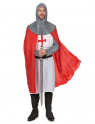 Kreuzritter Kostüm für Herren grau-rot-weiss